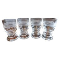 Thomas Cut Crystal Cordials Liqueur Shot Glasses Set of 4 Signed