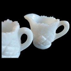 Westmoreland Milk Glass Child's Sugar & Creamer Diamond & Sunburst