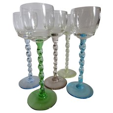 Vintage Cordial Liqueur Glasses w Colored Twisted Stems ~ Set of 5 Italy