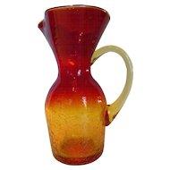 Vintage Blown Amberina Crackle Glass Pitcher Vase