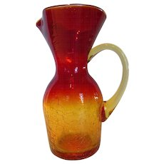Vintage Blown Amberina Crackle Glass Pitcher Vase