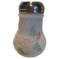 Antique Eagle Glass Co. Milk Glass Sugar Shaker with Flowers and Fleur-De-Lis
