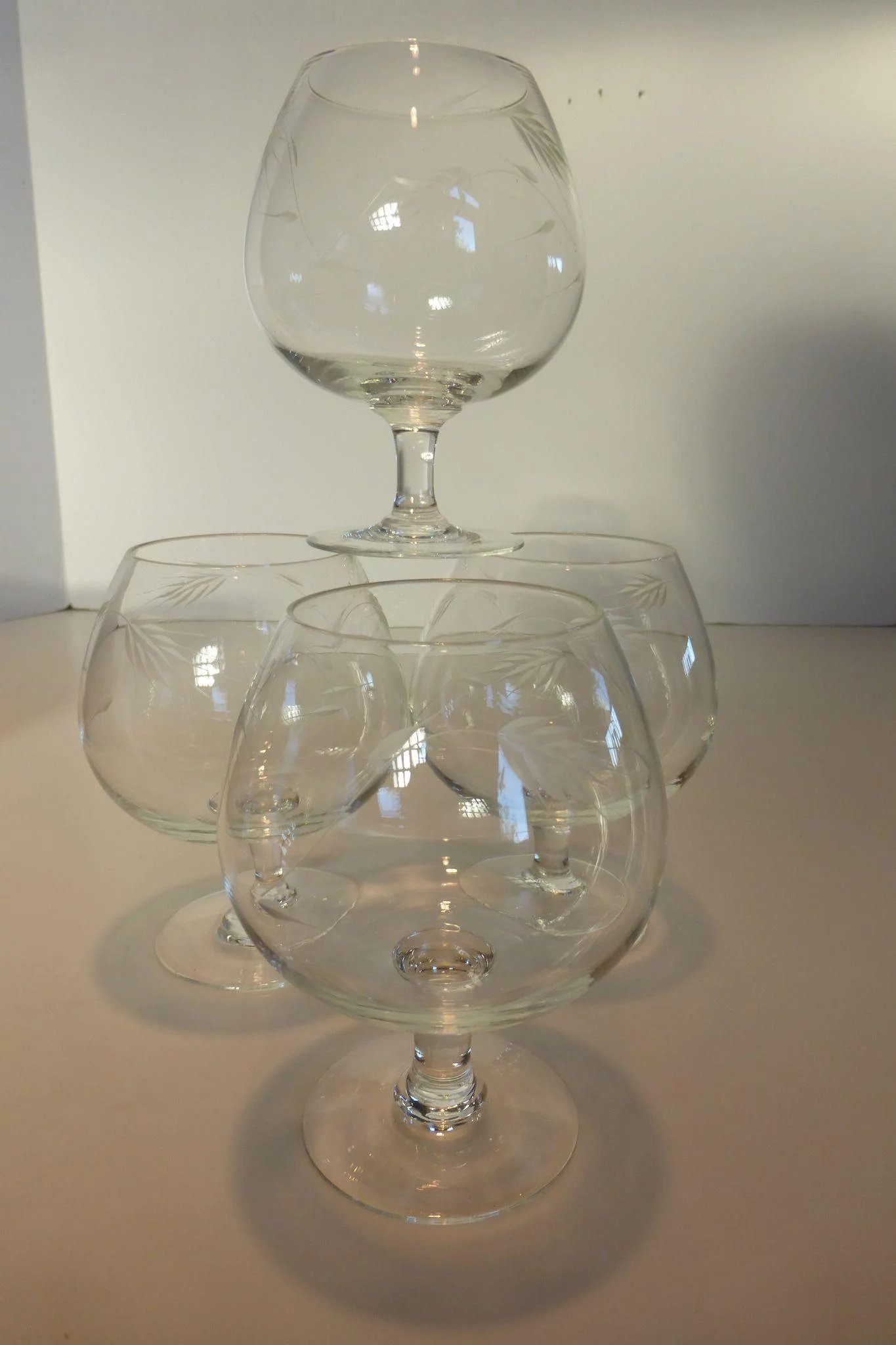 Vintage Crystal Brandy Snifters Etched Wheat Pattern Set Of 4 Historique Ruby Lane