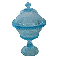 Antique Adams & Co EAPG Blue Glass 9 Inch Compote with Lid Wildflower