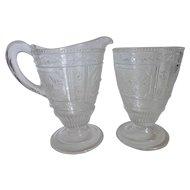 Antique EAPG Bryce Bros Early American Pattern Glass Creamer & Sugar Set Willow Oak