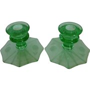 Green Depression Glass Etched Pattern Candlesticks Candle Holders Pair