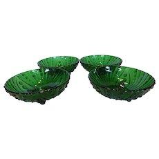 Anchor Hocking Green Burple Footed Berry Dessert Bowl Set of 4