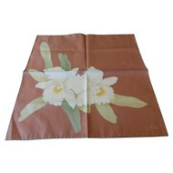 Vintage Jim Thompson Thai Silk Scarf Orchids MINT