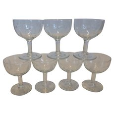 Vintage Etched Crystal Cordial Liqueur Glasses w Blue Bell Pattern Set of 7