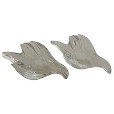 Vintage Gorham Full Lead Crystal Dove Candle Holders West Germany Pair