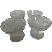 Vintage Clear Indiana Sandwich Glass 'Tiara' Sherbets Footed Set of 4
