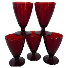 Anchor Hocking Royal Ruby Wine Cordial Shot Glasses Set of 5