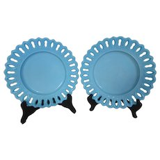 Antique EAPG Blue Turquoise Milk Glass Plates w Key Hole Edge Canton Glass Co Pair