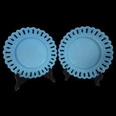Antique EAPG Blue Turquoise Milk Glass Plates w Key Hole Edge Canton Glass Co Pair