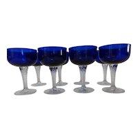 Vintage Cobalt Blue Crystal w Clear Twisted Stem Coupe Glasses, Set of 8