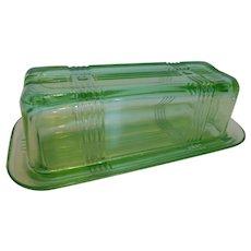 G609 Hazel Atlas CrissCross Green Glass Butter Dish w Lid 1/4 lb