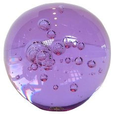 Crystal Orb Paperweight Sun Purpled w Controlled Bubbles Made in Sweden  Mid-Century