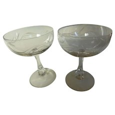 Fostoria CAROUSEL Champagne Cocktail Sherbet Glasses Blown Cut & Signed Pair