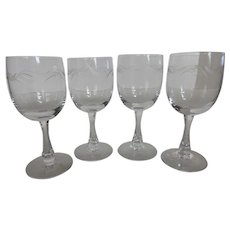 Fostoria CAROUSEL Wine Glasses Blown Cut & Signed Set of 4