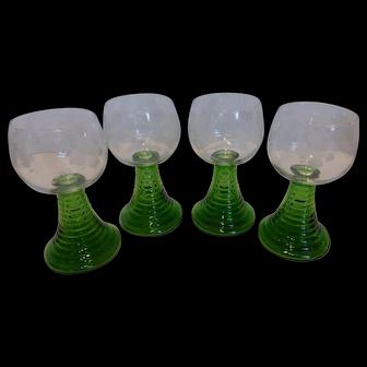 Vintage German Crystal 1/4l Wine Goblets w/ Emerald Green Ribbed Stem – Set of 4