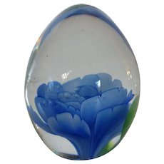 SDS Seapoot Group Art Glass Paperweight w Lotus Flower
