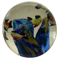 SDS Seapoot Group Art Glass Aquarium Paperweight w Fish