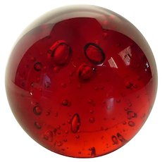 Vintage Murano Art Glass Ruby Red Paperweight w Controlled Bubbles