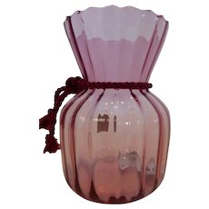 Vintage Pilgrim Cranberry Glass Ribbed Vase