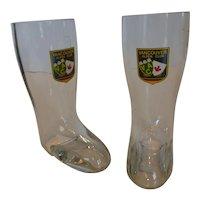 Vintage Vancouver Alpen Club 0.3 liter Rastal Glass Beer Boots Pair W Germany