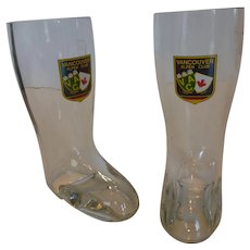 Vintage Vancouver Alpen Club 0.3 liter Rastal Glass Beer Boots Pair W Germany