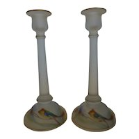 Tiffin Satin Glass Candlesticks Reverse Painted Birds Pair 10″