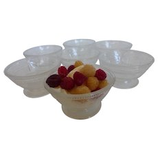 Vintage Sandwich Glass Fruit Dessert Bowls Set of 7