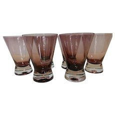 Vintage Modern Amethyst Glass Tumblers Set of 6
