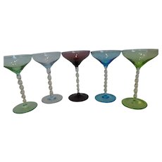 Vintage Italian Glass Colored Cordials Set of 5