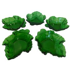 1950's Anchor Hocking Leaf Dishes Forest Green Set of 5