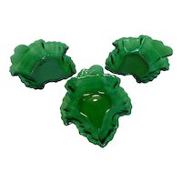 1950's Anchor Hocking Leaf Dishes Forest Green Set of 7