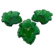 1950's Anchor Hocking Leaf Dishes Forest Green Set of 3