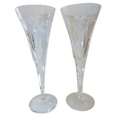 Waterford Crystal Fluted Champagne Millennium Series '5 Toasts' Pair