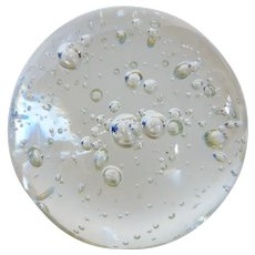 Mid-Century Crystal Ball Paperweight Clear w Controlled Bubbles Made in Sweden
