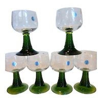 Vintage Zwiesel Crystal Wine Goblets w Green Ribbed Stem Germany Set of 6
