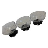 Weston Lily Pad Black Footed Sherbet Parfait Dessert Dishes Set of 3