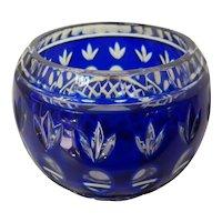 Vintage Cobalt Blue Cut to Clear Rose Bowl Bohemian Czech