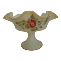 Vintage Fenton Custard Glass Compote Hand Painted with Fruit & Berries Artist Signed
