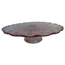 Pink Depression Glass Pedestal Cake Stand Plate