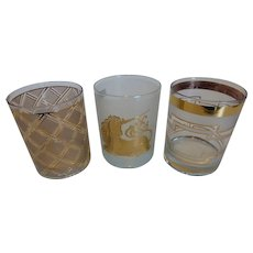 3 Culver 22K Gold Pattern Over Clear Glass Highball Cocktail Glasses Mid-Century Bar Ware