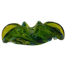 Mid-Century Large Murano Sommerso Centerpiece Bowl - Green and Blue