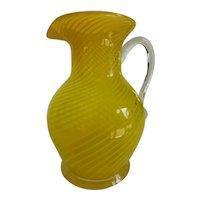 Lovely Vintage Pilchuck Yellow Optic Swirl Art Glass Pitcher