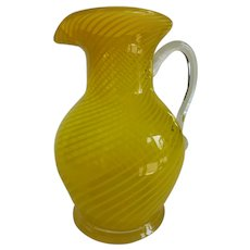 Lovely Vintage Pilchuck Yellow Optic Swirl Art Glass Pitcher