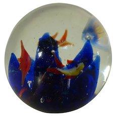 Mid-Century Murano Art Glass  Paperweight Aquarium Fish Italy