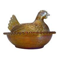 Indiana Marigold Carnival Glass Hen On Nest Dish